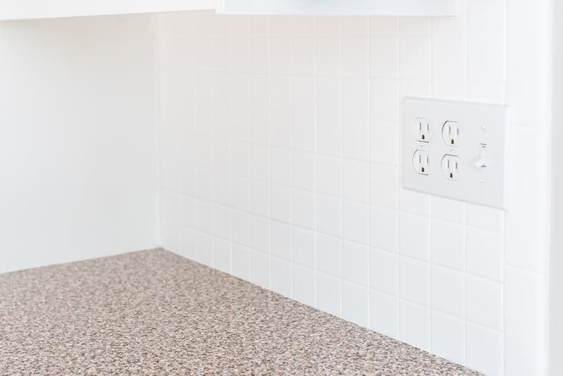 finished painted tile backsplash