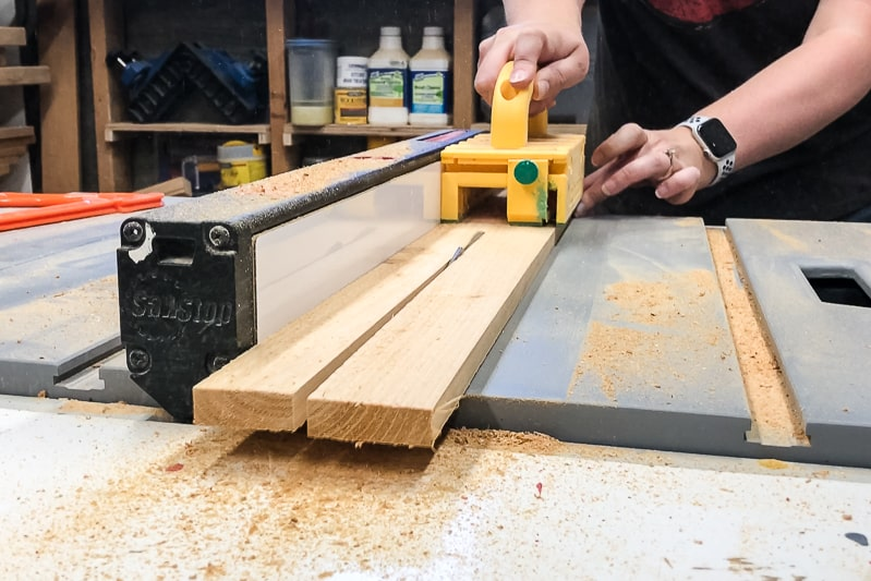 cutting cedar fence pickets on table saw
