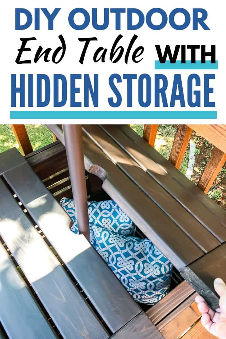 DIY outdoor end table with hidden storage
