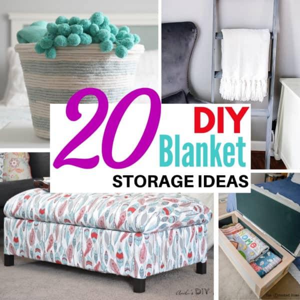 blanket storage ideas collage