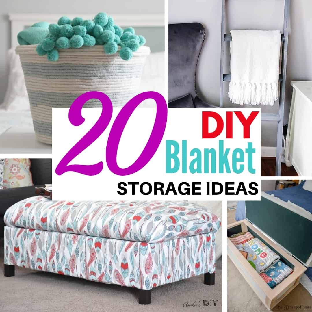 blanket storage ideas collage