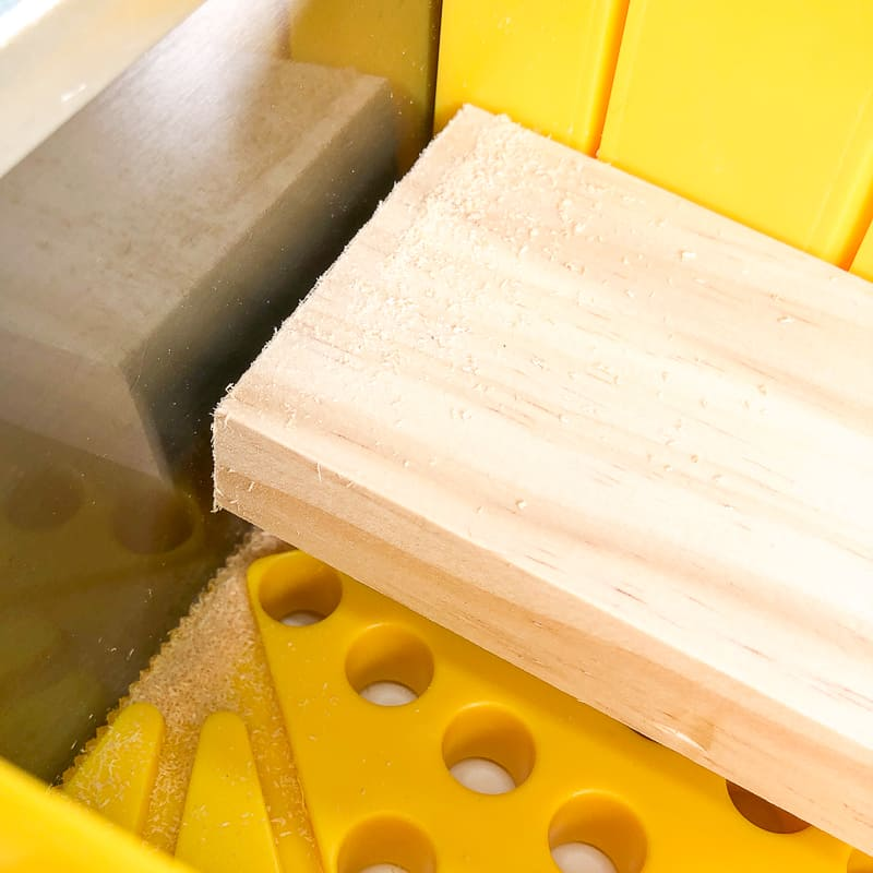 cutting board for DIY blanket ladder with a miter box