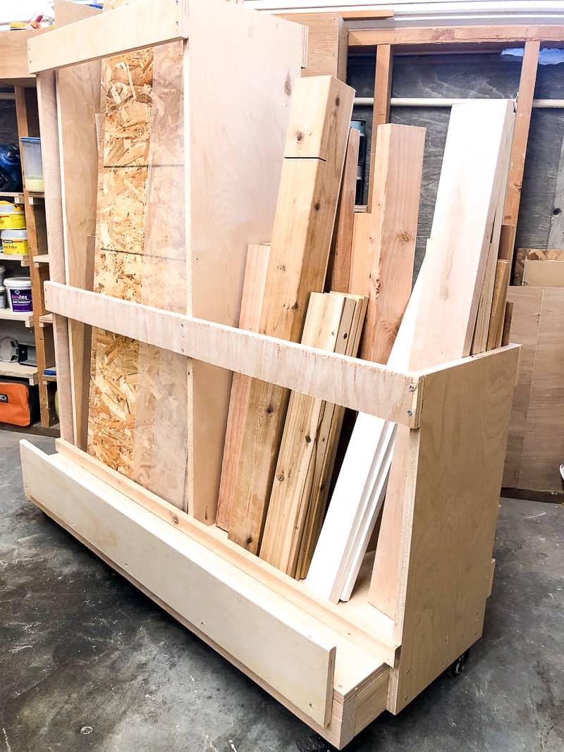 DIY lumber cart with scrap wood