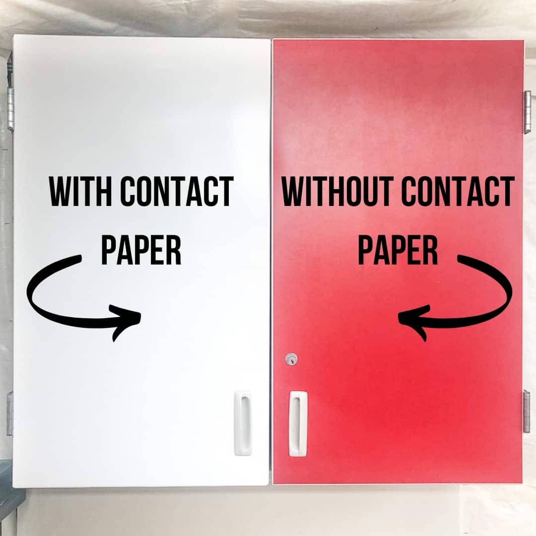 cabinet with and without contact paper