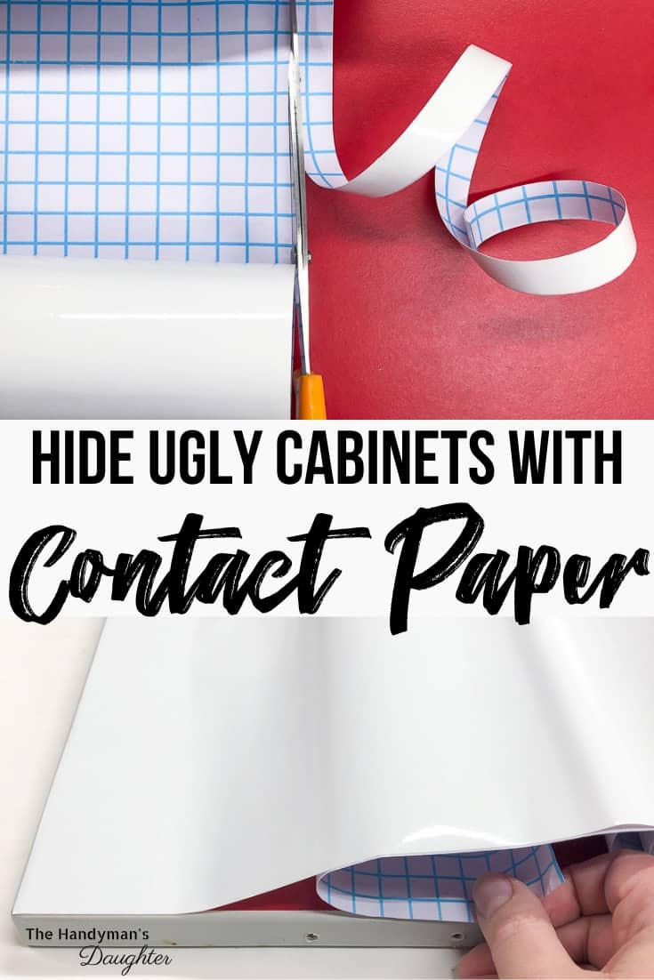 contact paper for cabinets being cut and applied to door