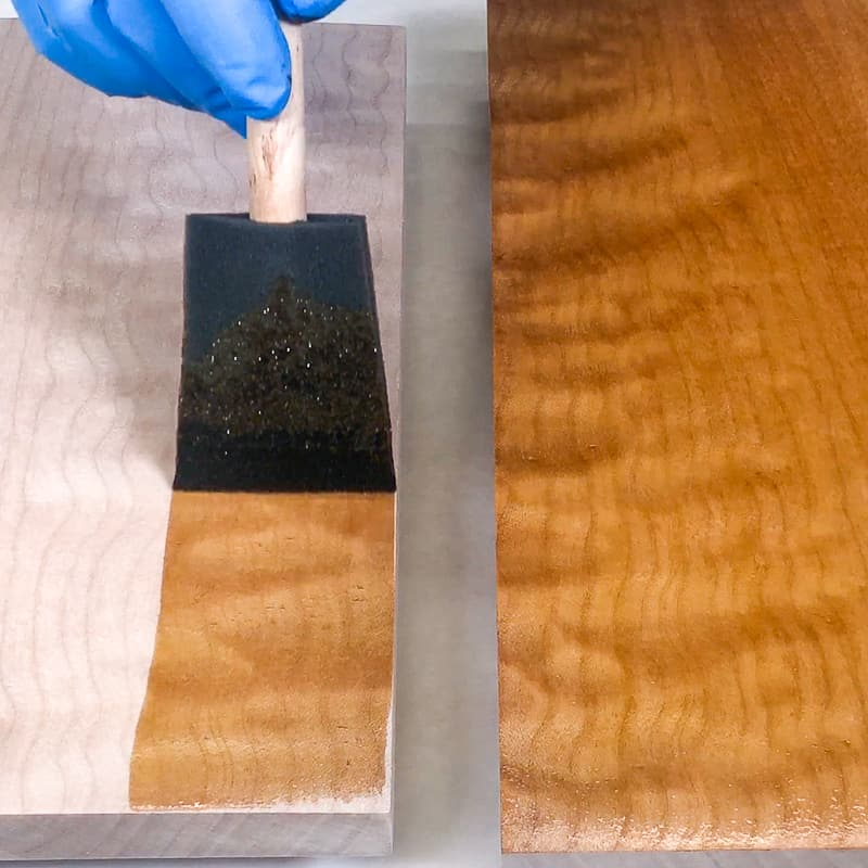 popping the wood grain with dye and dewaxed shellac