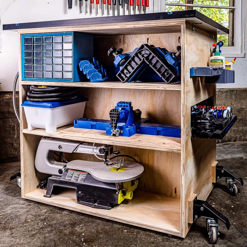 DIY workbench with shelves
