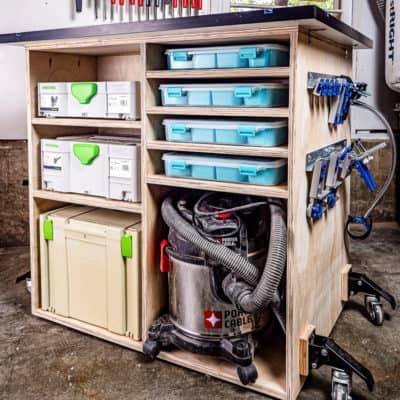 DIY workbench with storage shelves