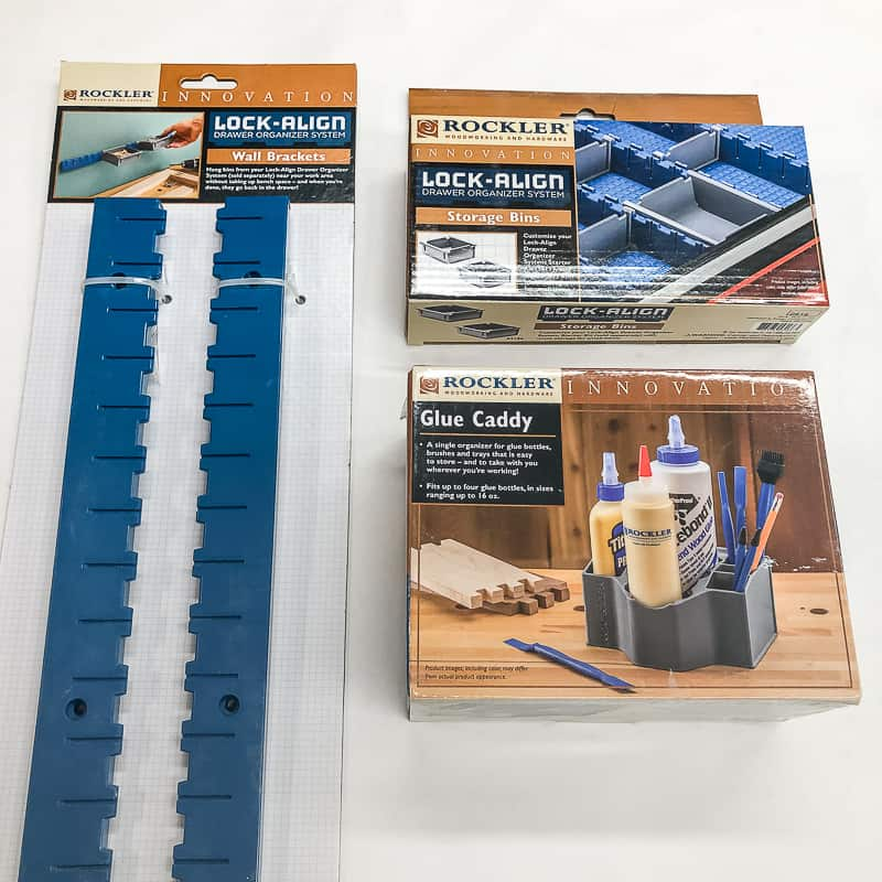 Rockler storage bins, glue caddy and wall bracket