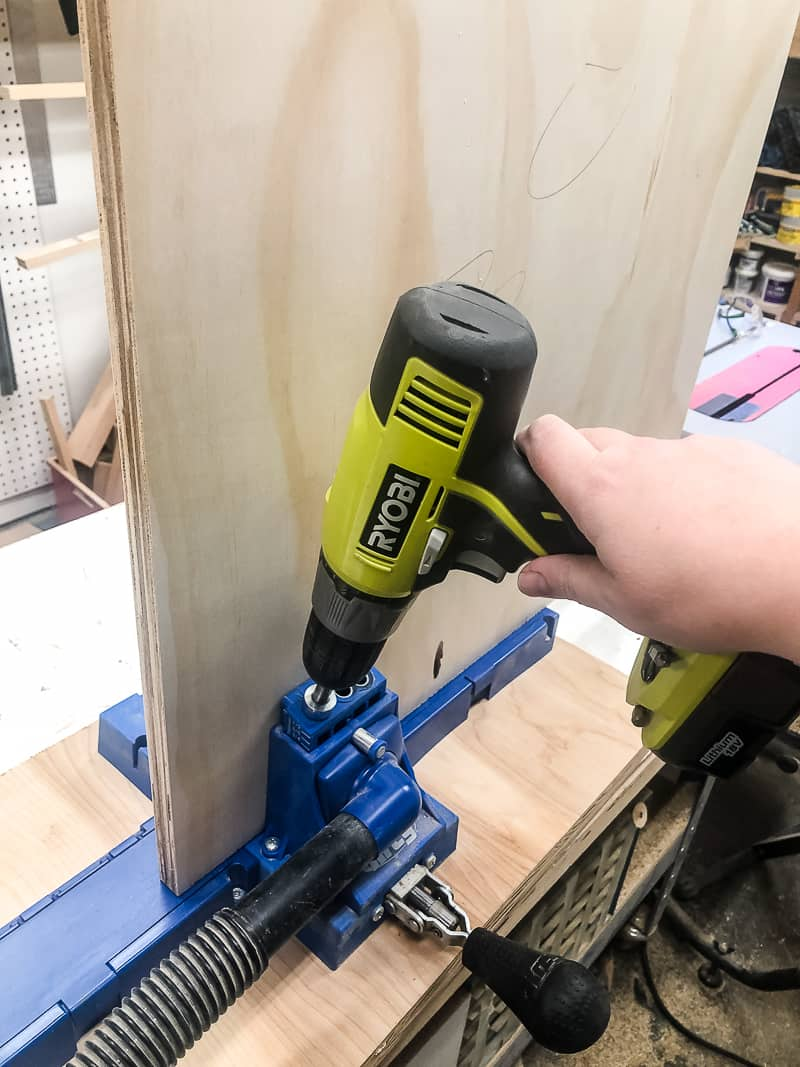 drilling holes in sides of workbench