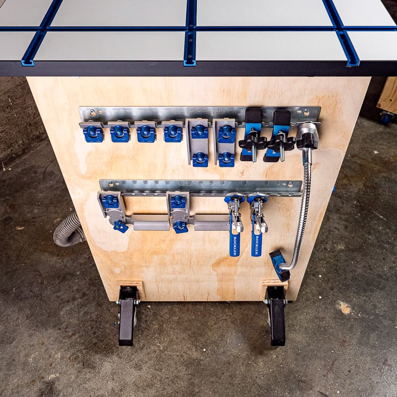 DIY workbench with t-track top and accessories mounted on side