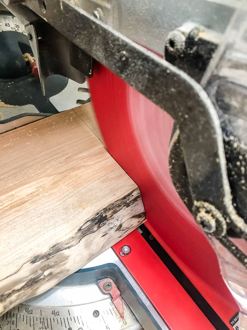 cutting live edge slab to length of floating shelves