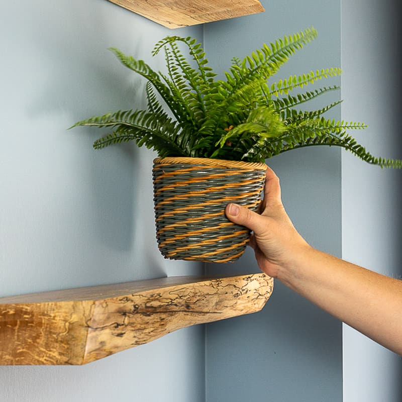 placing faux plant on live edge floating shelf