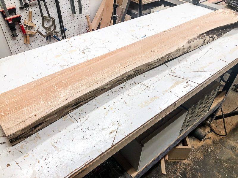 live edge slab to be made into floating shelves
