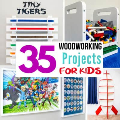 collage of woodworking projects for kids