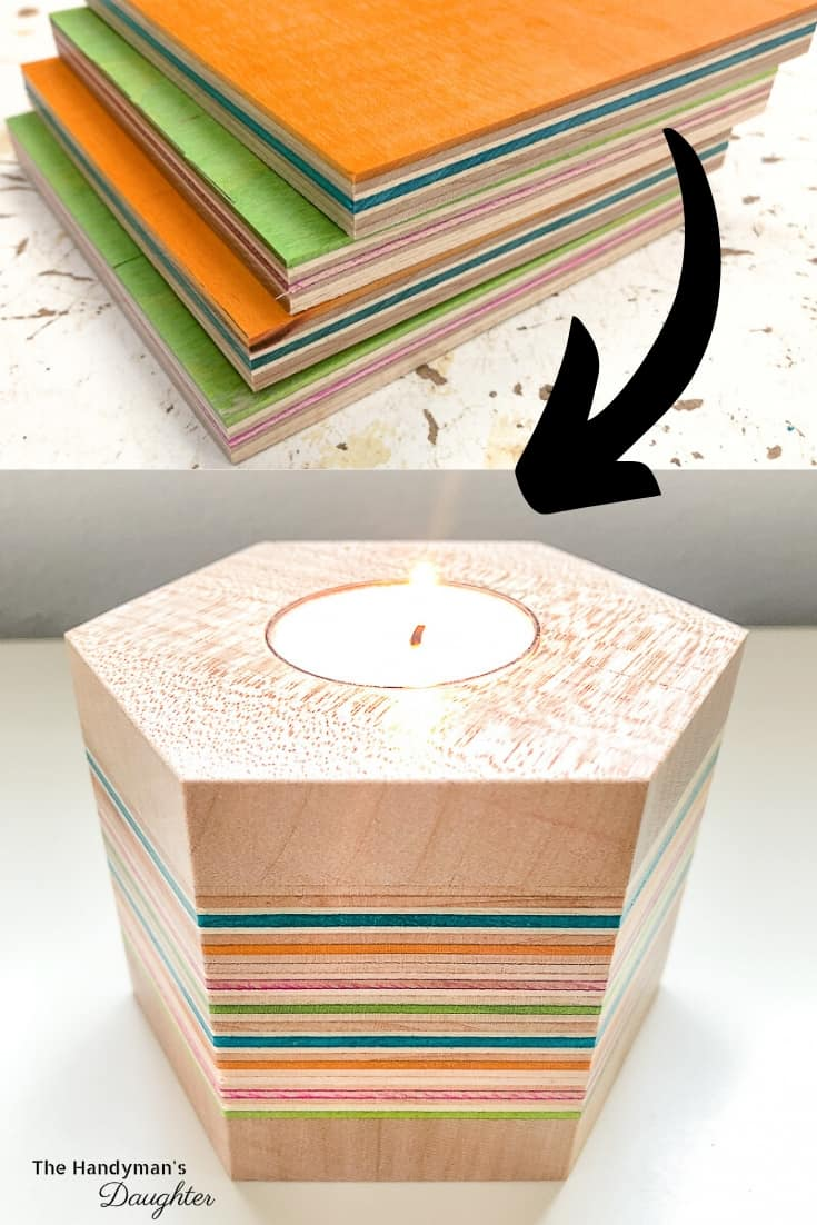 DIY wood candle holder made from recycled skateboards