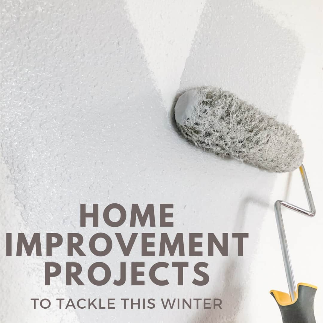 DIY home improvement projects with paint roller in background