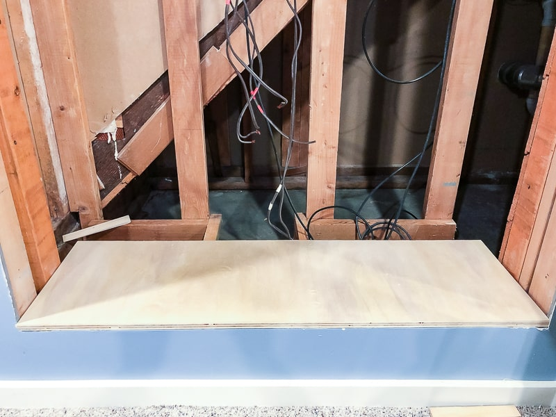 dry fit of plywood shelf