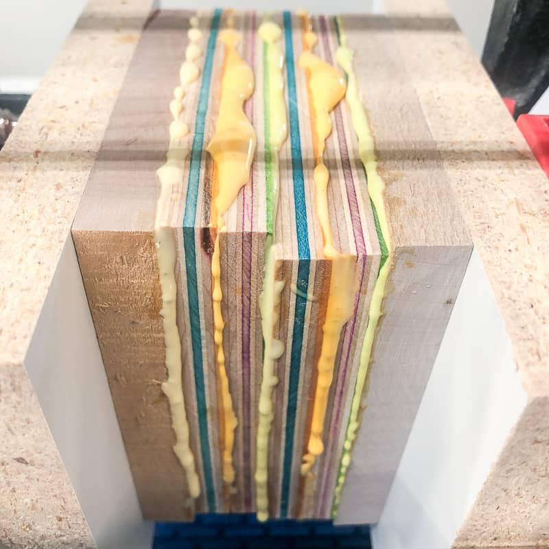 glue squeeze out between layers of skateboard veneer