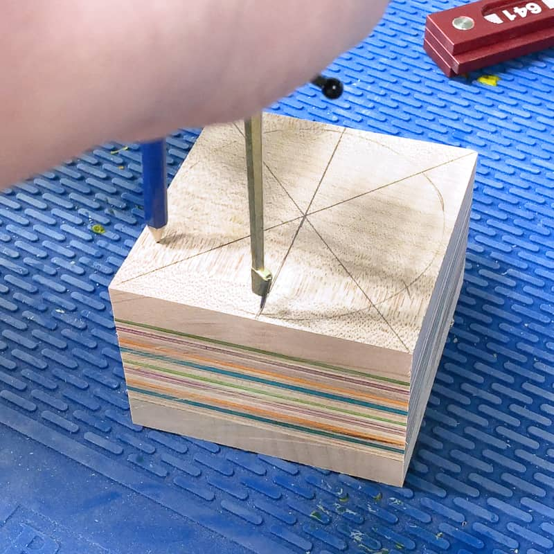 marking the corners of a hexagon with a compass