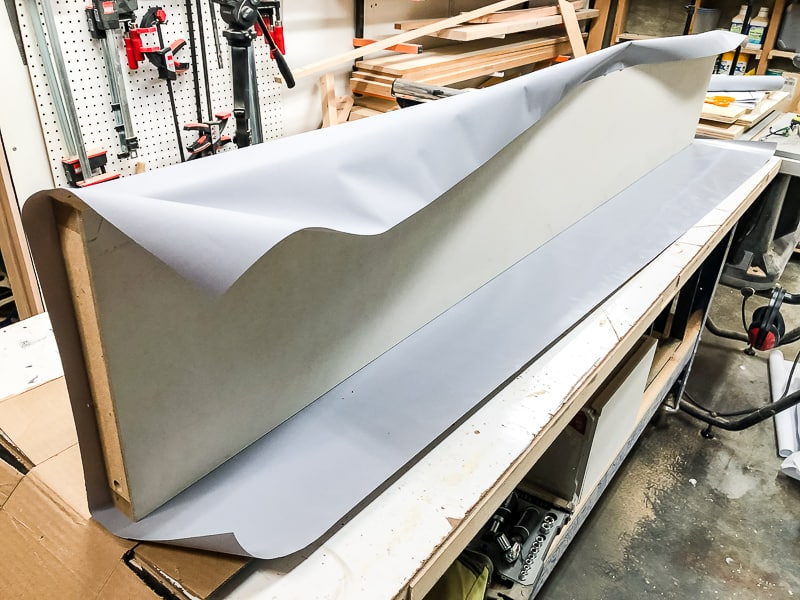 bifold door on edge on workbench