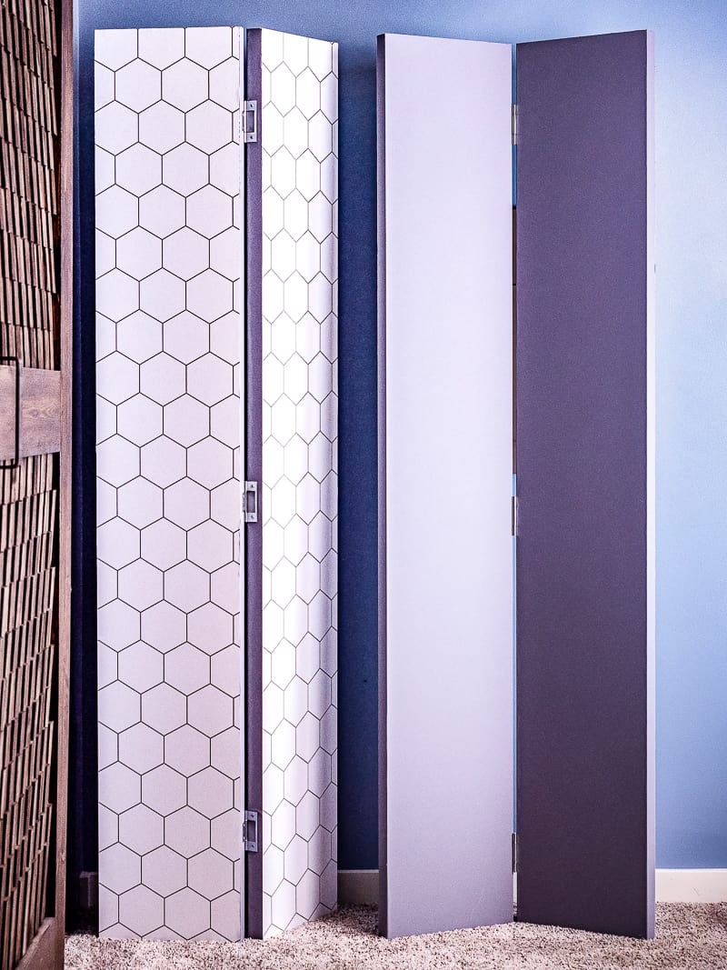 DIY privacy screens with gray and hexagon patterned sides showing