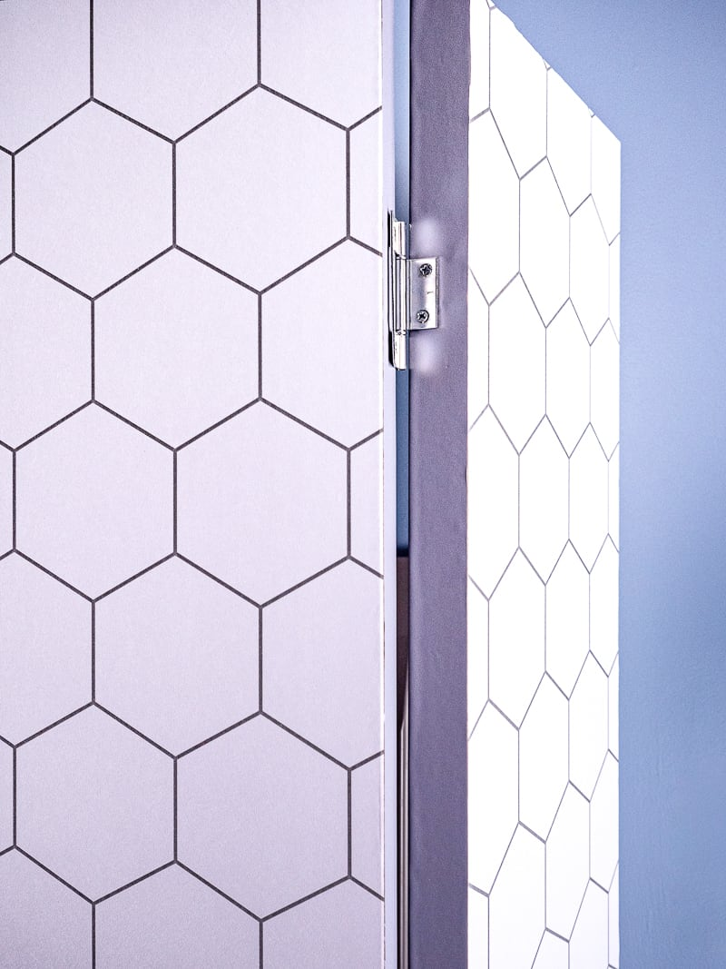 DIY room divider with hinges showing