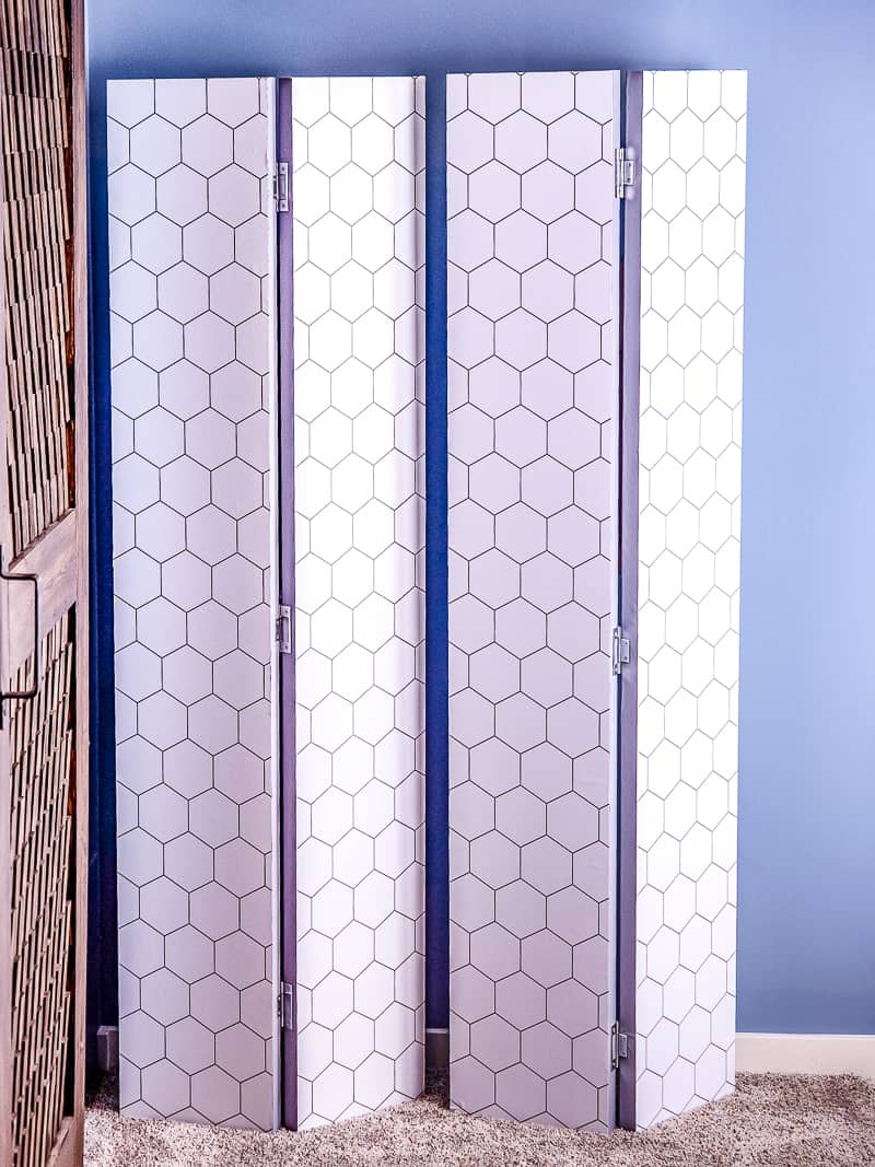 DIY privacy screen with hexagon patterned contact paper