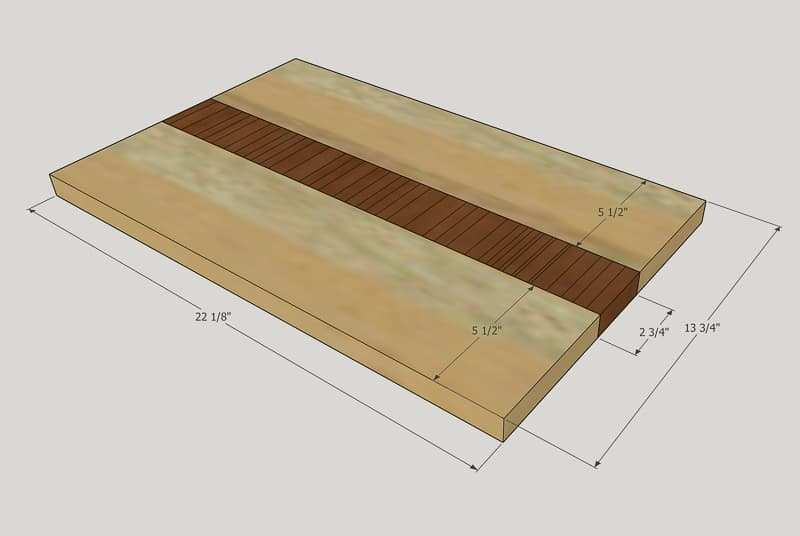 dimensions for the laptop stand top
