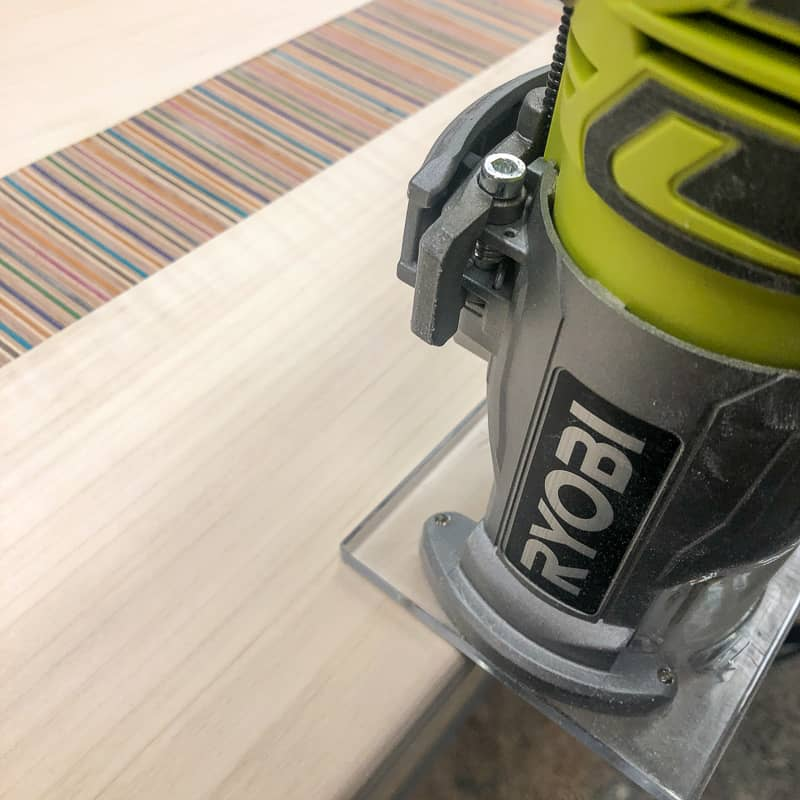 rounding over edges of DIY laptop stand top with a trim router