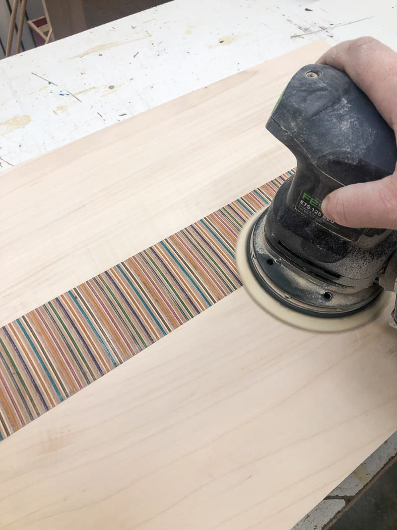 sanding DIY laptop stand top