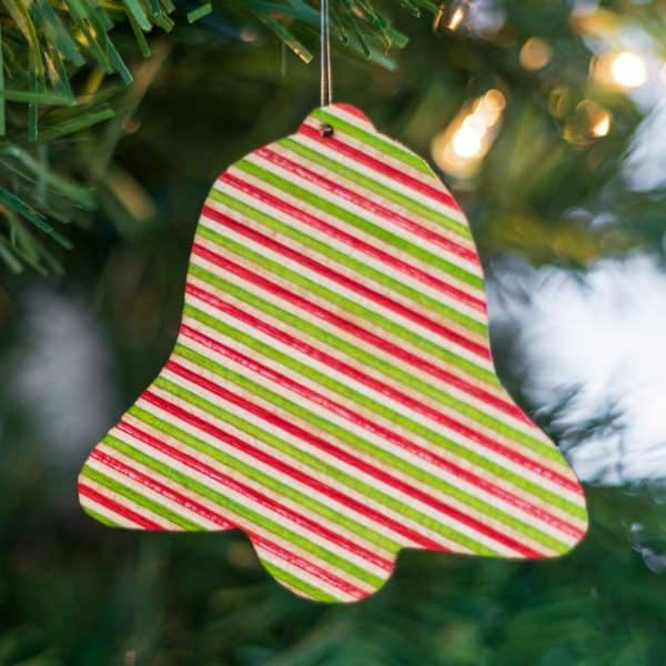 DIY wooden ornament shaped like a bell