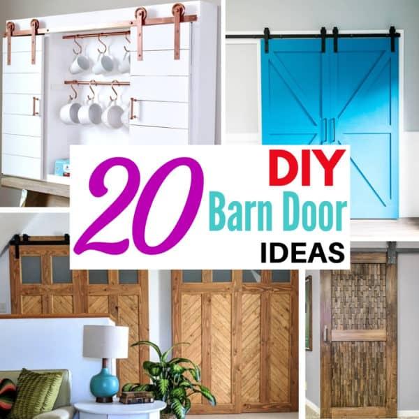 collage of DIY barn door ideas