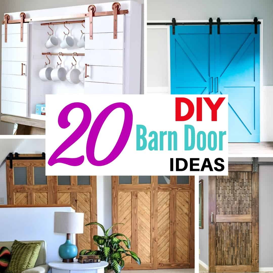 collage of DIY barn door ideas