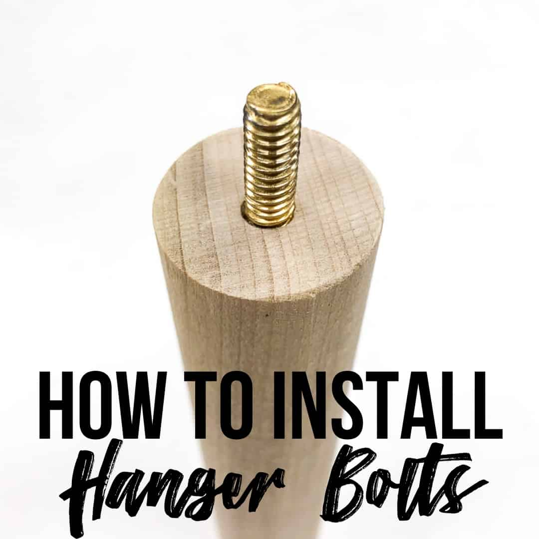 image of hanger bolt installed in wooden dowel with How to Install Hanger Bolts text overlay