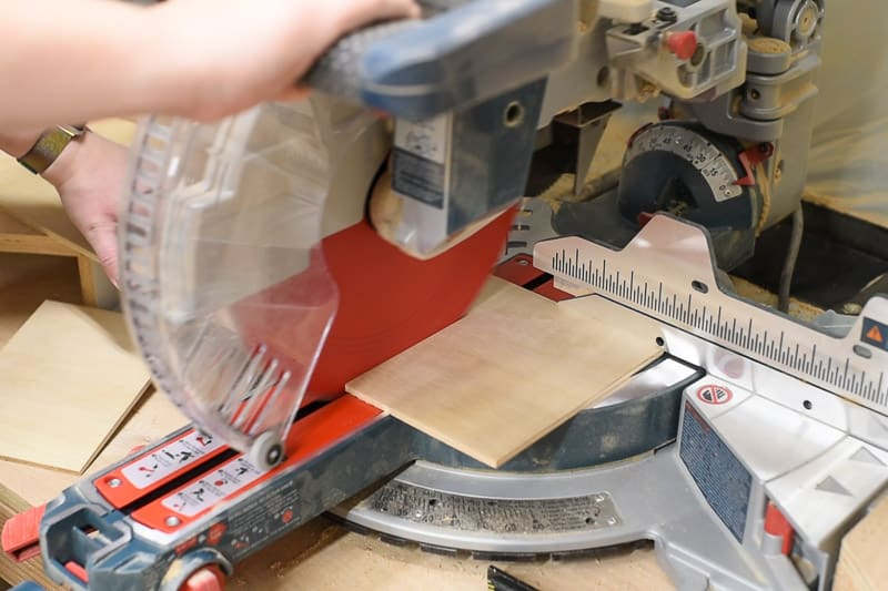 "cutting dividers for DIY drawer organizer out of ¼"" plywood on the miter saw"