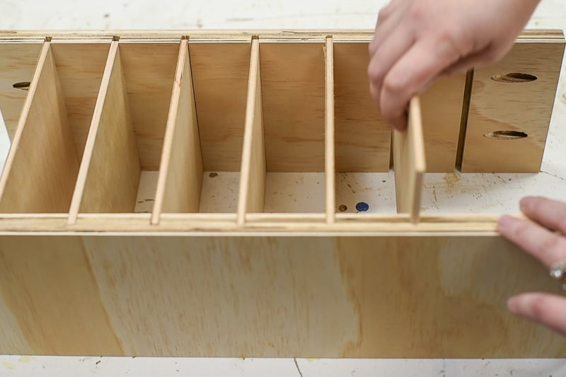 testing fit of dividers for DIY drawer organizer