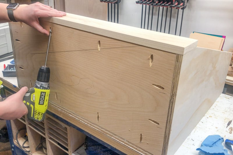 attaching front to DIY kids bookshelf with pocket hole screws