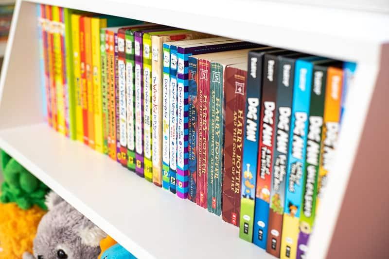books on shelf of DIY kids bookshelf