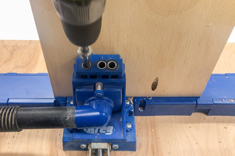 """drilling pocket holes in ¾"""" plywood"""