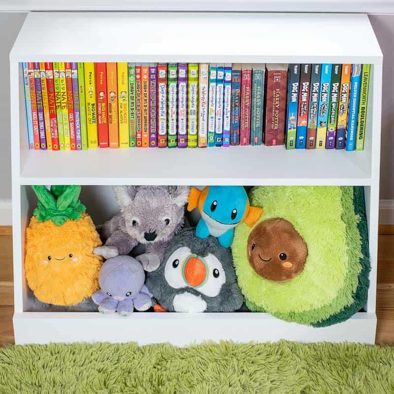 DIY kids bookshelf with toy storage bin