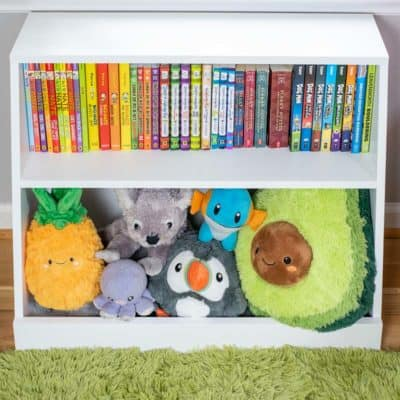 DIY kids bookshelf with toy storage