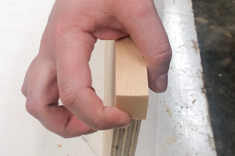 snapping edge banding over the corner of the plywood