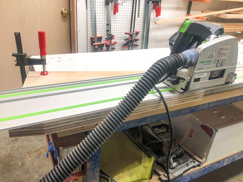 Festool track saw cutting off angled side of DIY kids bookshelf