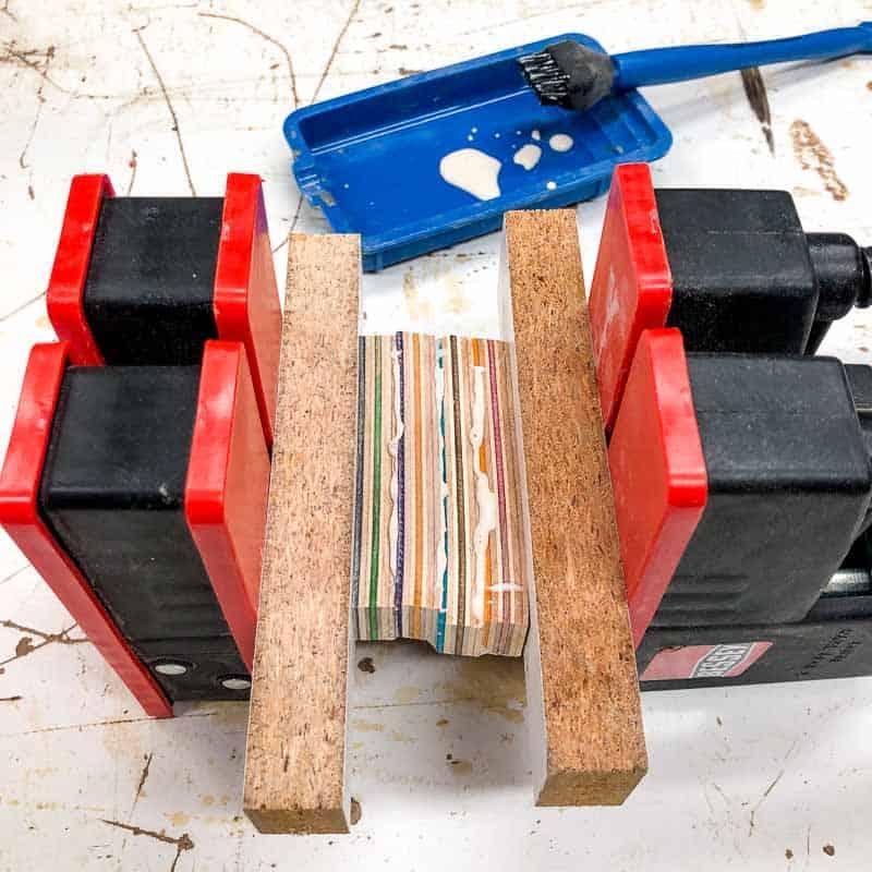 clamped skateboard wood strips