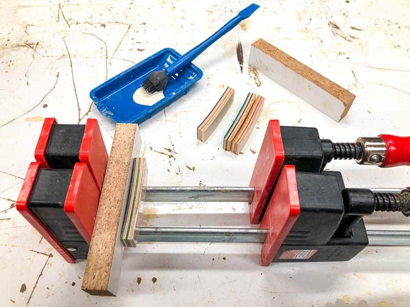 skateboard wood strips to be placed in parallel clamps