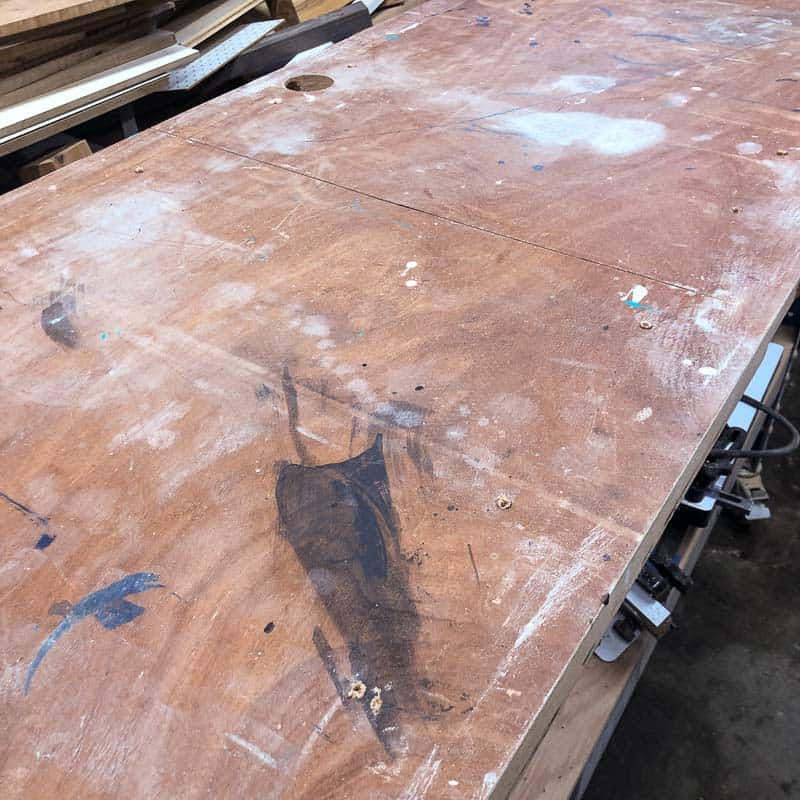 old workbench top before laminate installation