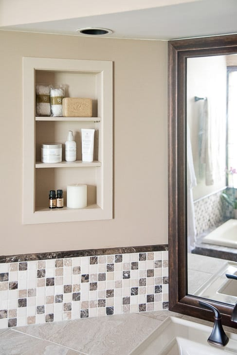 recessed shelves in bathroom installed between studs