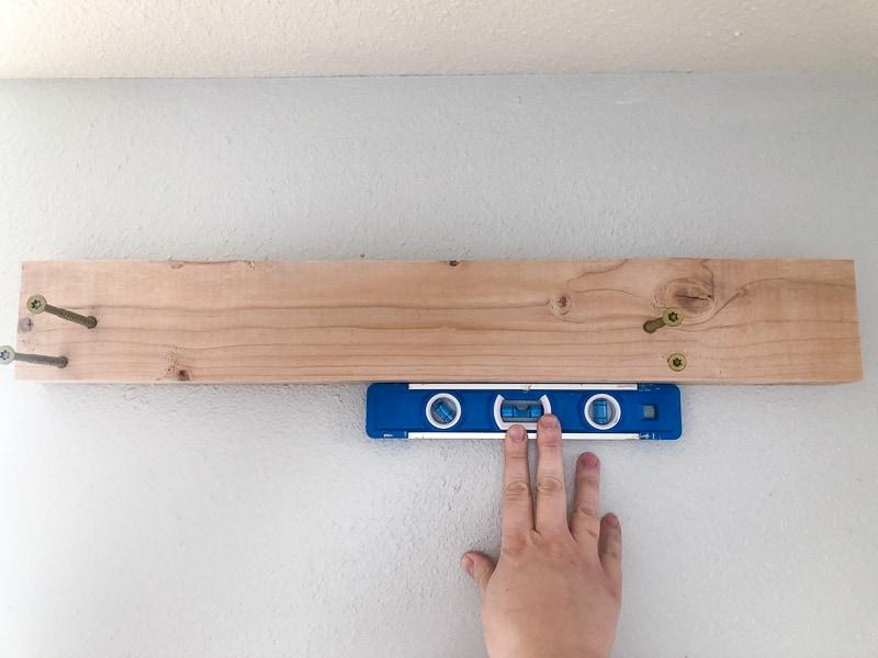 checking level on hangboard mount bracket