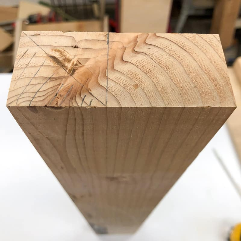 end of 2x4 marked for 45 degree angle cut